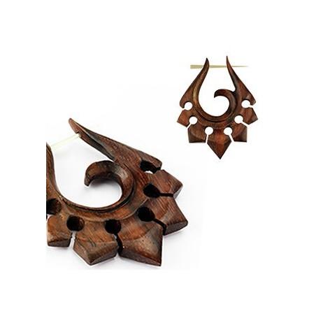 Boucles d'oreille tribal en bois
