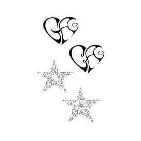 Tatouage Maori Coeur et Etoile autocollant