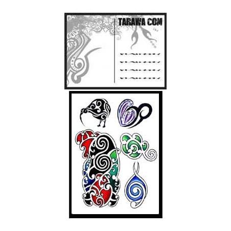 Carte postale Maori tatouage temporaire