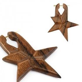 Boucles d'oreille hetnique pour femme motif étoile pleine en bois naturel fait main