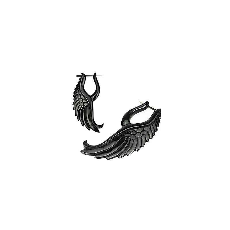 Boucle d'oreille ethnique pour femme motif Aile d'ange sculpteé en corne noir