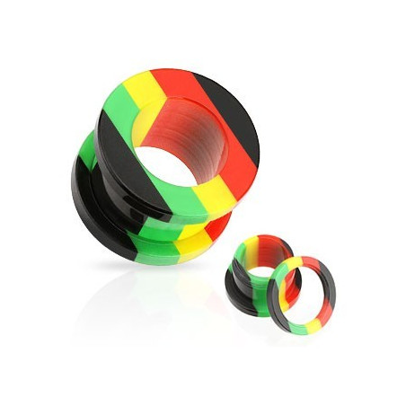Piercing tunnel oreille couleur rasta