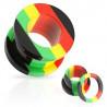 Piercing tunnel ecarteur oreille couleur rasta jamaique vert jaune rouge
