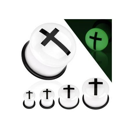 Piercing plug phosphorescent motif croix
