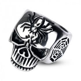 Bague skull tête de mort motif araignée acier pour homme bicker