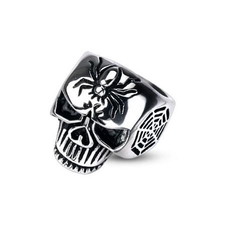 Bague skull araignée acier pour homme