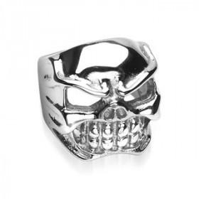 Bague skull en acier inoxydable motif tête de mort pour homme bicker