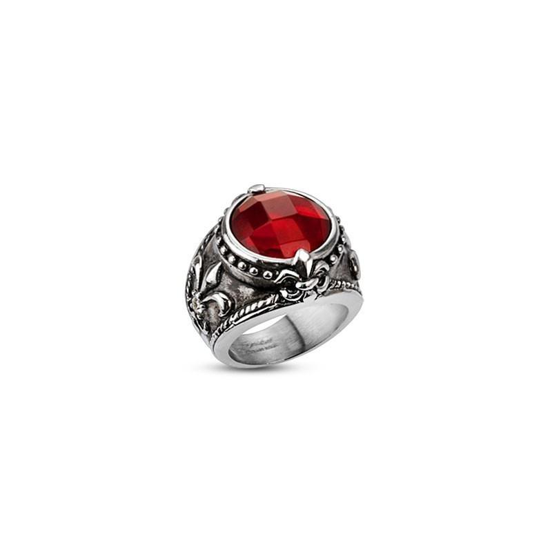 Bague en acier inoxydable pour homme motif Antique Fleur de Lys cristal rouge