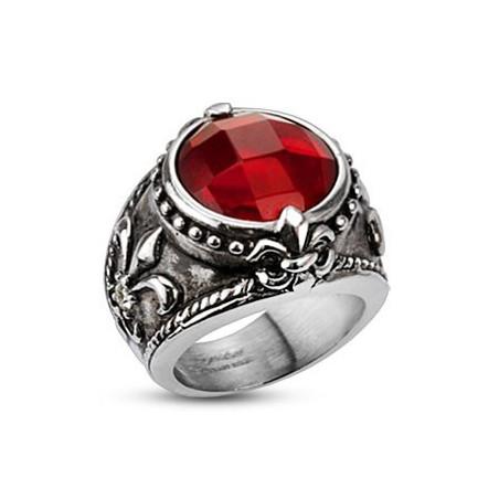 Bague Antique Fleur de Lys cristal rouge