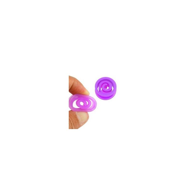 Plug spiral en silicone violet tunnel bioflex couleur violet
