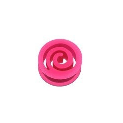 Piercing Plug spiral en silicone Rose fluo