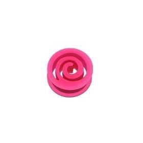 Plug spiral en silicone Rose fluo écarteur tunnel en bioflex de couleur rose fluo