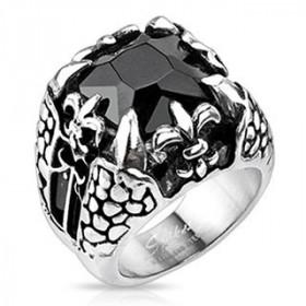 Bague chevalière gothique pour homme en acier inoxydable Fleur de Lys griffe Dragon noir