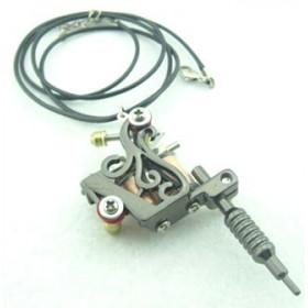collier Pendentif Mini Machine Tattoo dermographe Elfe acier noir
