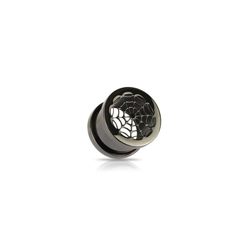 piercing Plug oreilles Blackline toile araignée en acier chirurgical