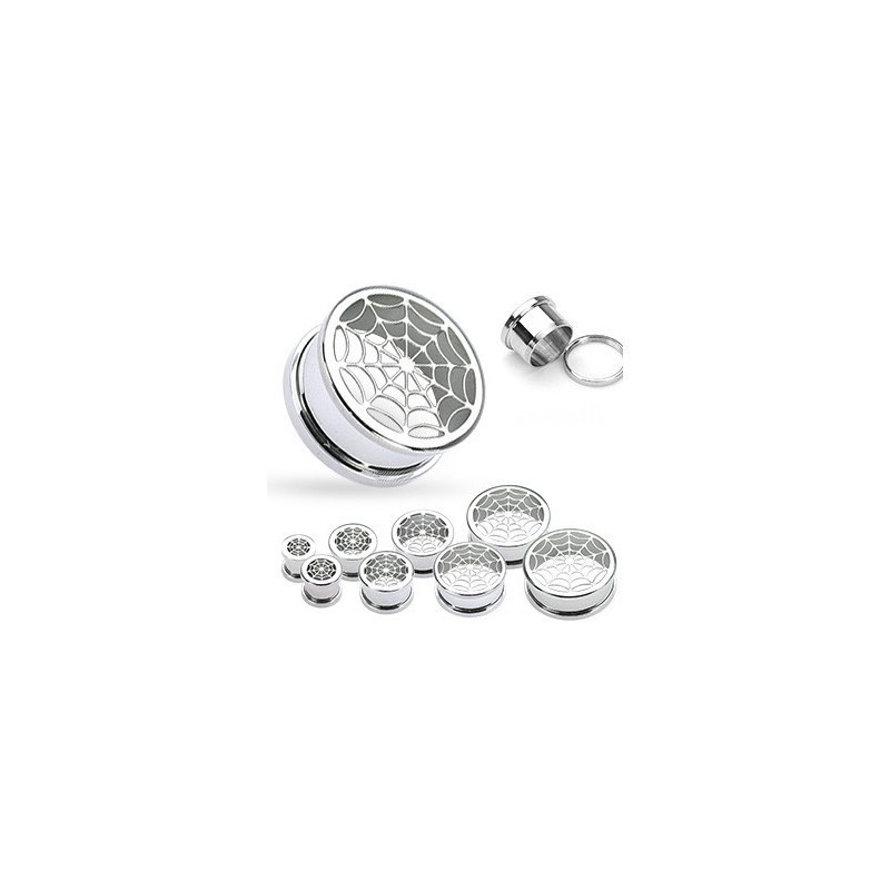 Piercing oreille Plug toile araignée acier chirurgical titane