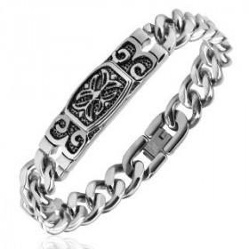 Bracelet croix celtique en acier inoxydable chirurgical pour homme