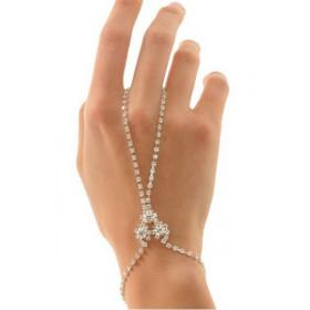 Bracelet bague chainette pour femme sexy cristal slave