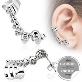Boucle d'oreille multi tête de mort bague oreille pour femme en acier chirurgical