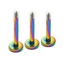 micro Barre de piercing pour Labret en titane anodisé de couleur fioul arc en ciel pas cher de qualité