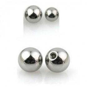 Bille de piercing en titane 1.2 mm couleur acier adaptable arcade, labret, oreille, hélix, tragus