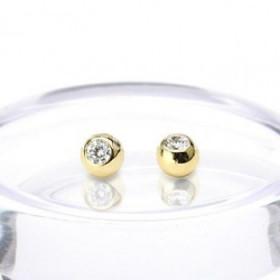 Bille de piercingalité de qu en titane anodisé doré 1.2 mm avec cristal blanc adaptable arcade, labret, oreille, hélix, tragus