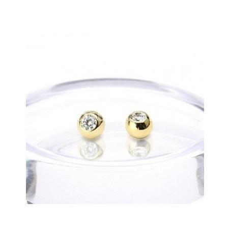 Bille piercing 1.2 mm titane anodisé doré cristal blanc