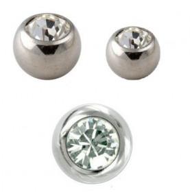 Bille piercing en titane  de diamètre 1.2 mm couleur acier avec cristal blanc pour le labret tragus arcade et piercing oreille