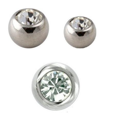 Bille piercing titane 1.2 mm couleur acier cristal blanc