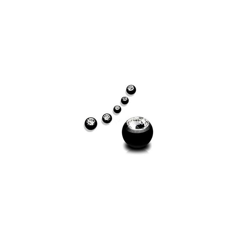 Bille de piercing en titane anodisé noir 1.2 mm cristal blanc adaptable arcade, labret, oreille, hélix, tragus