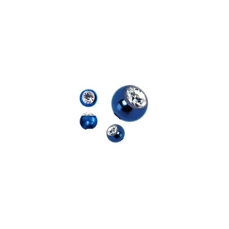 Bille de piercing avec cristal blanc en titane anodisé couleur bleu 1.2 mm adaptable arcade, labret, oreille, hélix, tragus
