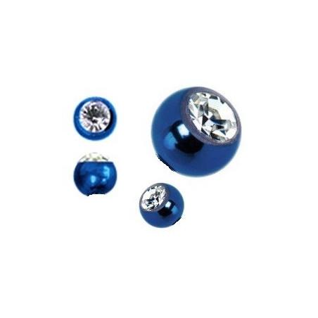 Bille piercing 1.2 mm titane anodisé bleu cristal