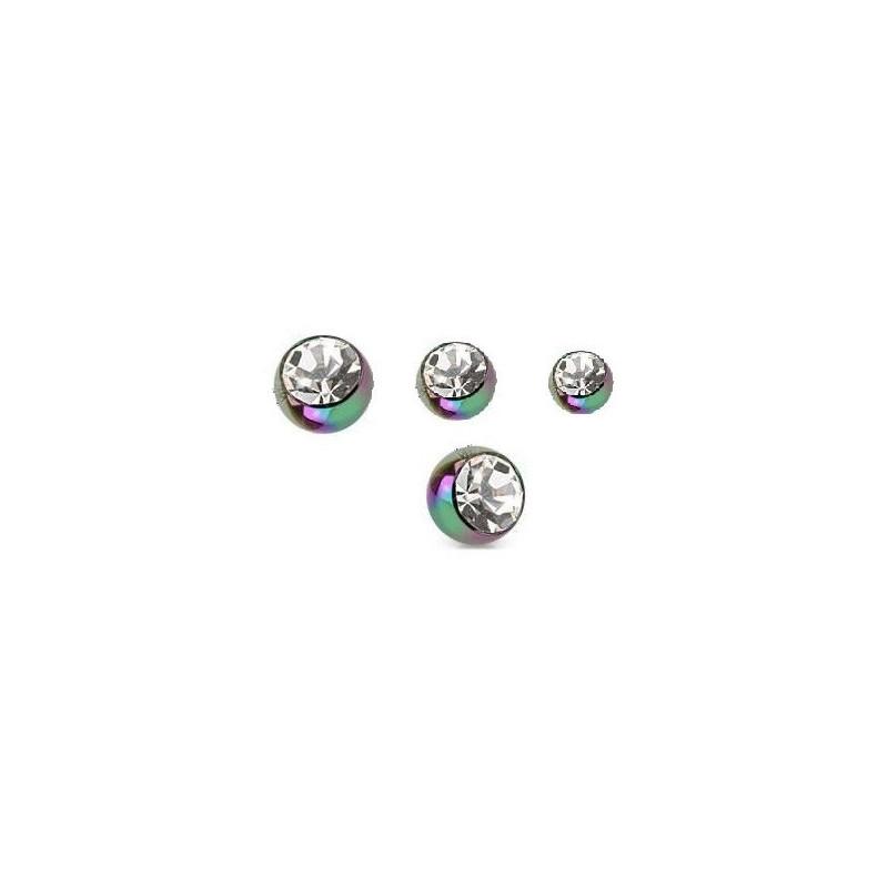 Bille de piercing cristal blanc en titane anodisé couleur essence 1.2 mm adaptable arcade, labret, oreille, hélix, tragus