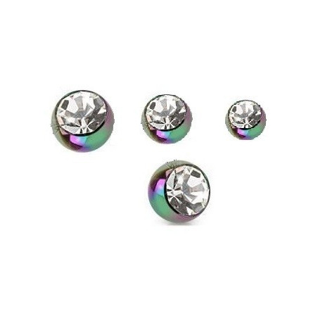 Bille piercing 1.2 mm titane anodisé Fioul cristal blanc