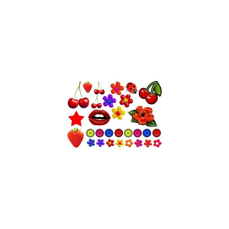 Tattoos temporaires Fruits rouges et accessoires