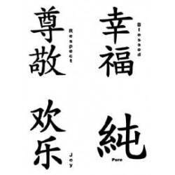 Faux Tatouage Signes Chinois Tarawa Com Faux Tattoo