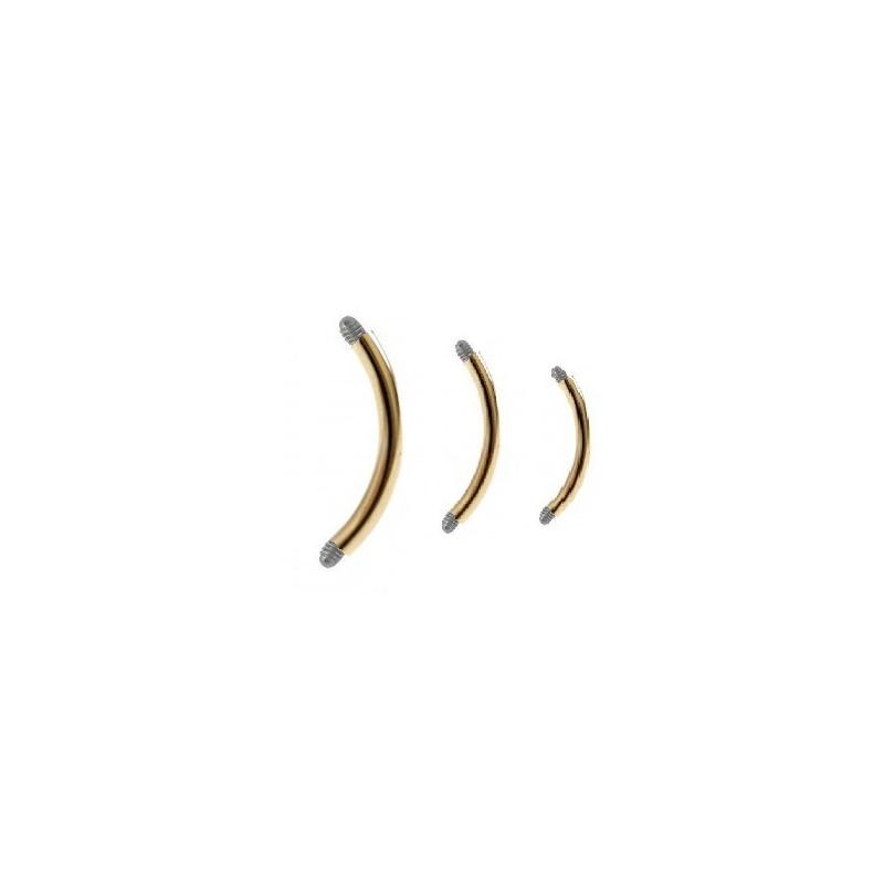 Micro Barre de piercing forme banane en titane anodisé doré 1.2 mm de diamètre de couleur or