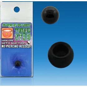 Faux piercing de langue en plastique acrylique de couleur noir pas cher