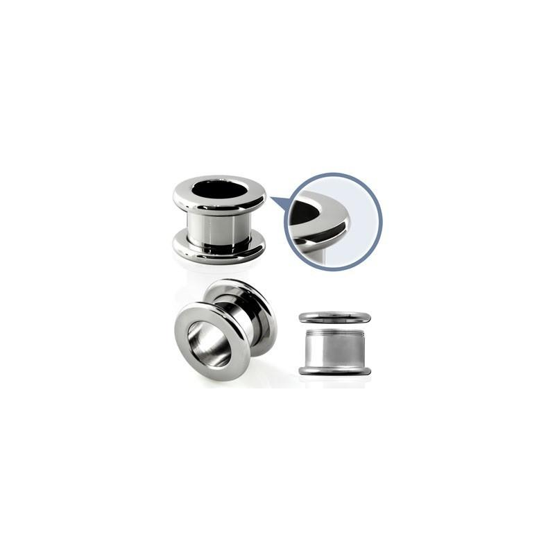 Piercing tunnel oreille écarteur en acier chirurgical vissé rebord arrondie de qualité pas cher