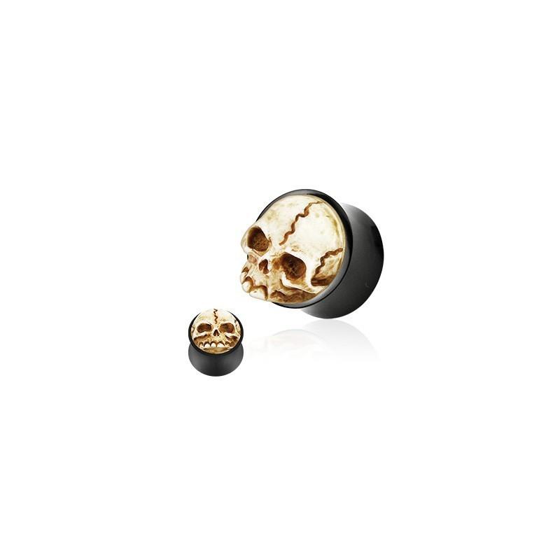piercing Plug Tête de mort Organique en corne de bufle fait main