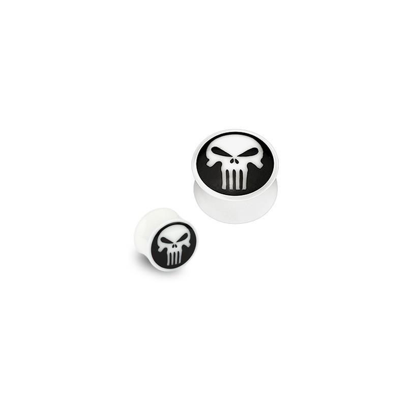 piercing Plug organique Tête de mort en Os blanc et corne