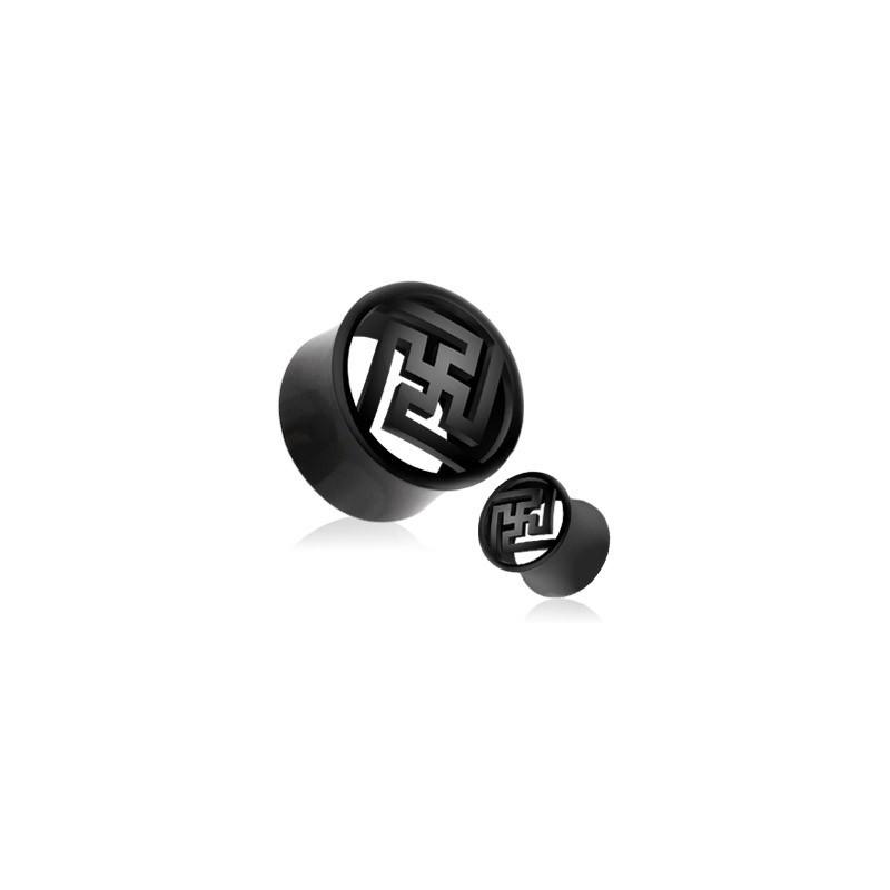 piercing Plug oreille Organique Zen en corne de buffle motif chinois