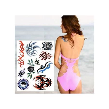 Tatouages Tribal autocollants couleurs soleil et Spikes