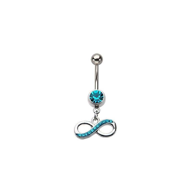 Piercing nombril acier chirurgical pendentif 8 infini cristal Bleu tirquoise