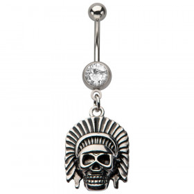 Piercing nombril acier chirurgical pendentif tête de mort Skull chef indien indien