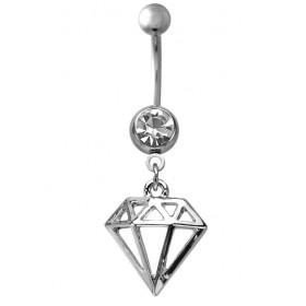 Piercing nombril acier chirurgical pendentif motif Diamant