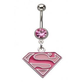 Piercing nombril acier chirurgical pendentif logo marque Superman couleur rose