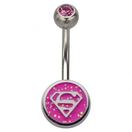 Piercing nombril logo Superman rose