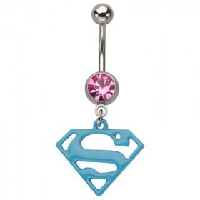Piercing nombril acier chirurgical pendentif Superman couleur bleu cristal rose