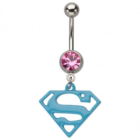 Piercing nombril pendentif Superman Bleu
